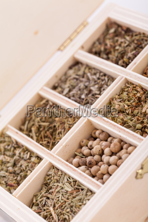 various dried herbs spices