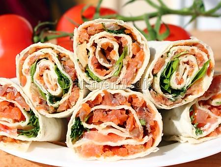 lavash rolls with salmon