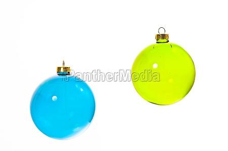 blue and neongruene christmas ball