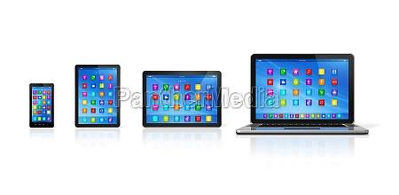 smartphone digital tablet computer and laptop