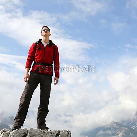 young climber enjoys his success on