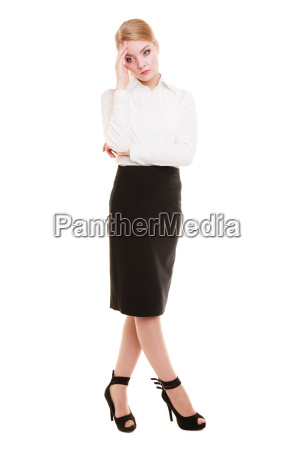 full length of thoughtful young businesswoman