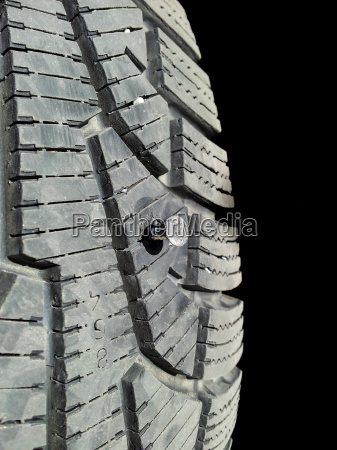 puncture of rubber tire