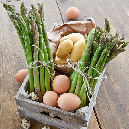 fresh asparagus potatoes and eggs