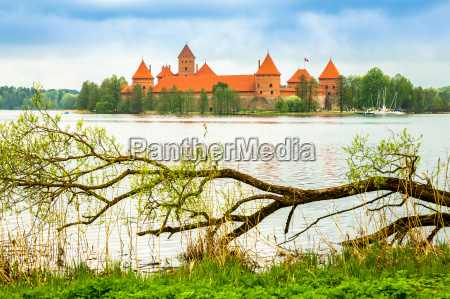 medieval old castle in trakai lithuania