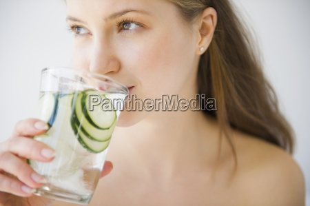 drinking woman thirst water refreshment shirtless