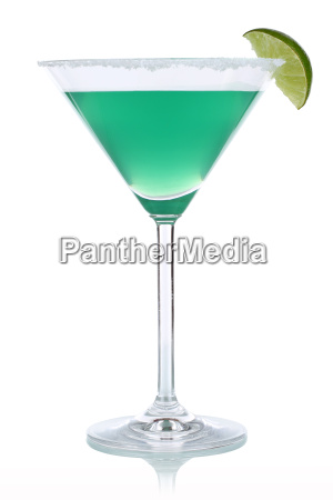 green cocktail in martini glass