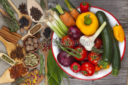 colorful variety of vegetables and herbs