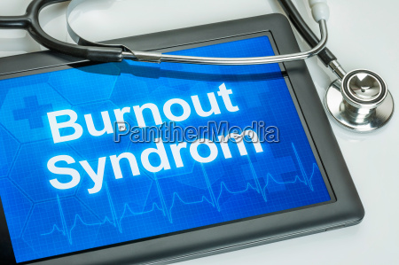 tablet with the diagnosis burnout on