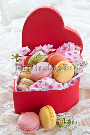 colorful macarons red box