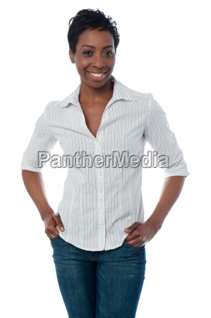 smiling middle aged woman posing in