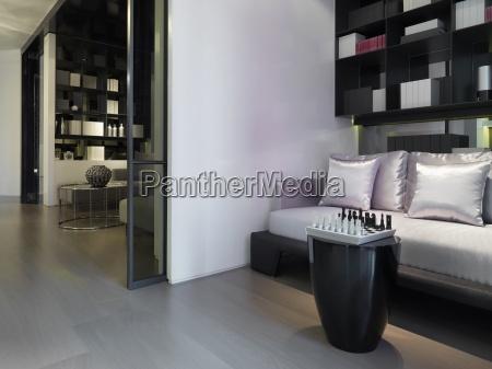 low angle modern satin sofa and