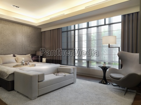 simple bedroom with sitting area