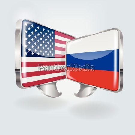 speech bubbles with usa and russia