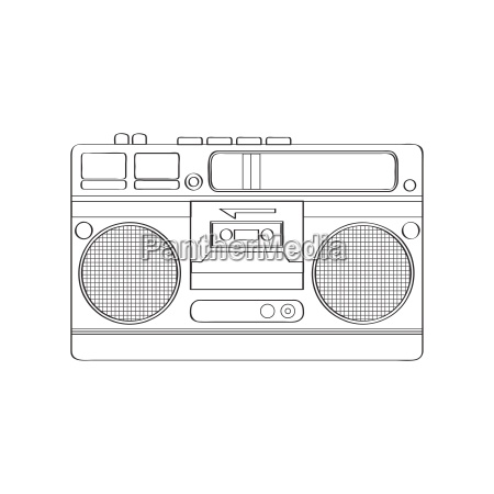 vintage boom box isolated on white