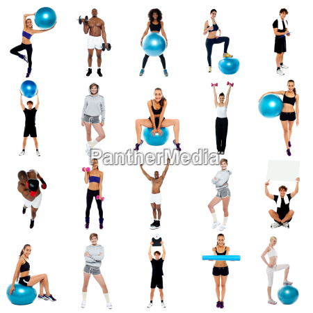 health concept collage exercise and stay