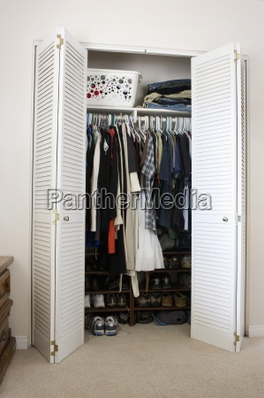clothes and shoes in closet san