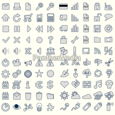 100 web icons in gray