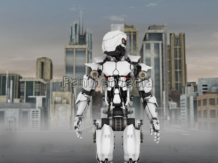 futuristic robot with city background