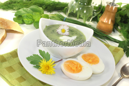 herb, soup, with, eggs, and, a - 11368113