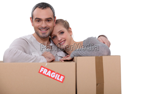 couple moving cartons