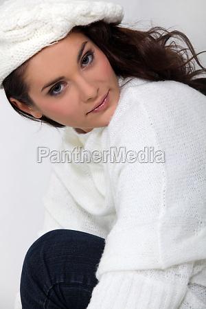 beautiful woman wearing woolen sweater and