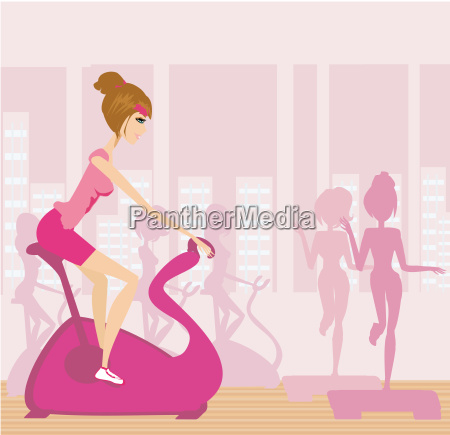 vector silhouettes of people exercising in
