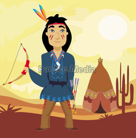 indian holding a bow and arrows