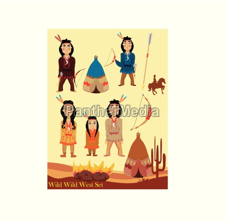 cartoon characters indian wild west collection