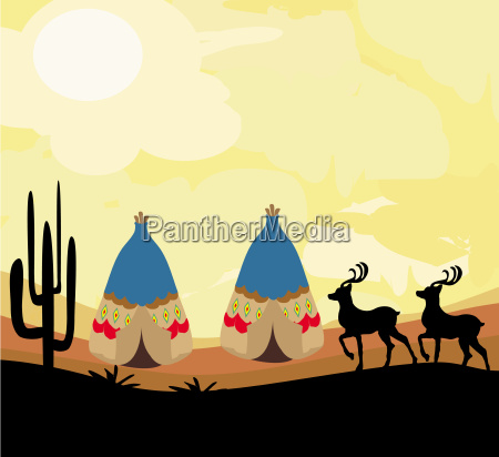 wild landscape with two wigwams and