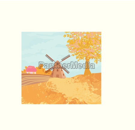 landscape with windmill in autumn sunny