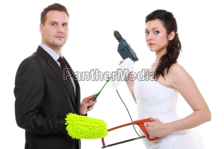 young couple bride groom household chores