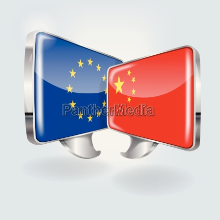speech bubbles with europe and china