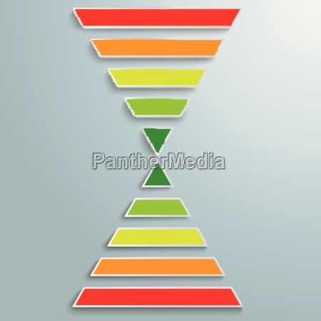 2 colored pyramids infographic piad