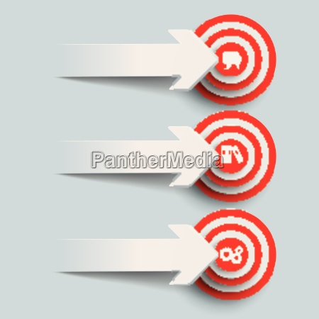 3 paper cut arrows 3 targets