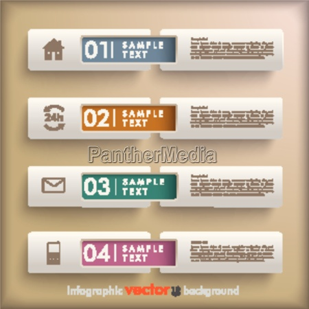 4 banners retro background infographic