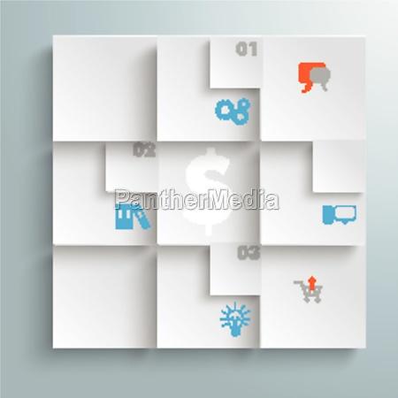 abstract quadrates infographic design piad