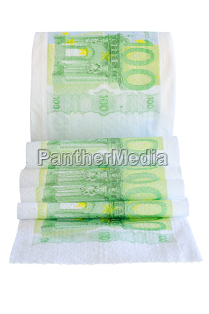 unwound toilet peper roll with 100