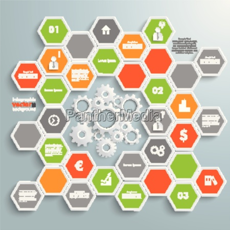 colored honeycomb background infographic white gears