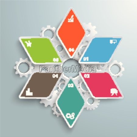 colored rhombus star industry production infographic