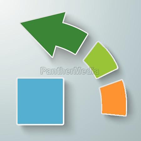 colored success arrow three pieces piad