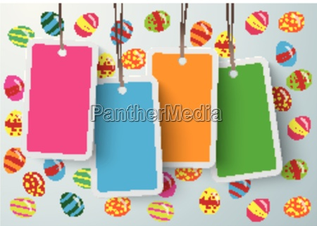 four colored price sticker easter eggs