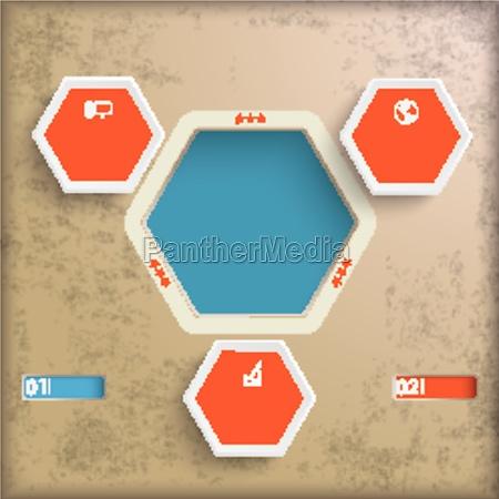 hexagon vintage infographic piad