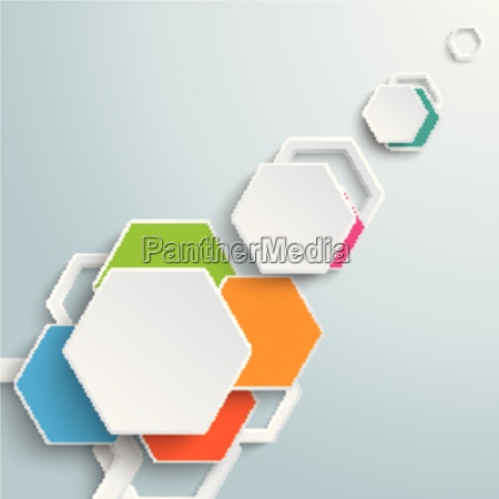 infographic colored paper hexagons sunlight piad