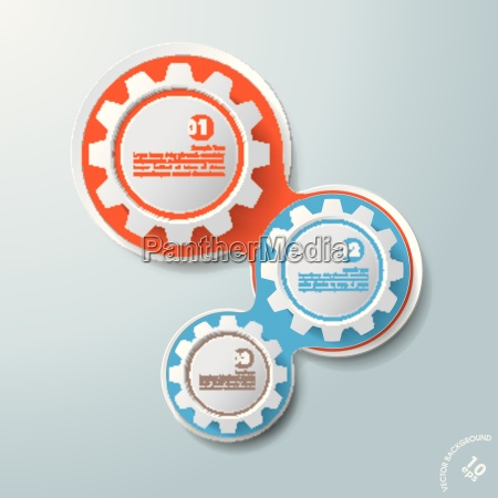 infographic design colored chains white gears