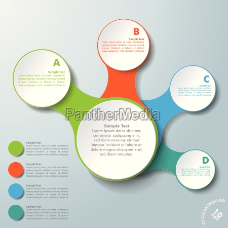 infographic white connected circles abcd