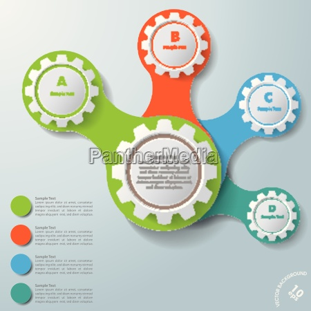 infographic white connected gears abcd