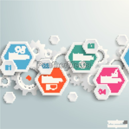 infographic hexagon gears line