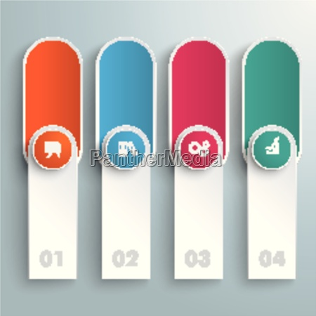 oblong round banners colored circles piad