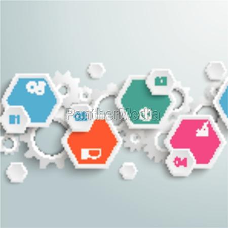 infographic, hexagon, gears, line, piad - 11400310